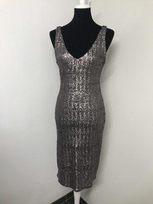 Cocktail Kleid Silber mit Pailletten Gr. 38