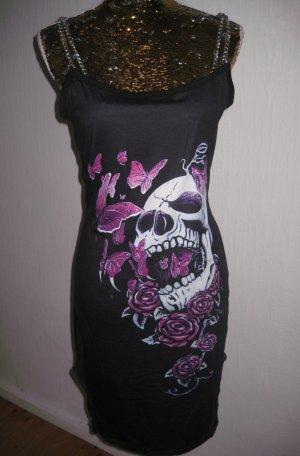 Cocktail Kleid Skull schwarz Pink Neu mit Ketten Gr 36