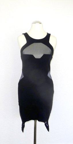 American Retro Vestido de cóctel negro tejido mezclado