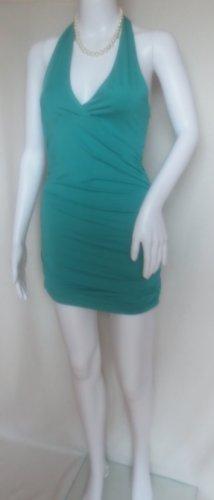 Sukienka z dekoltem typu halter turkusowy-morski