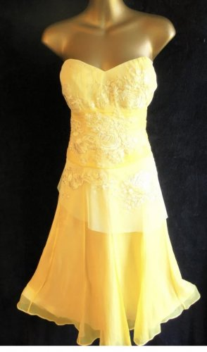 Monsoon Vestido bandeau amarillo