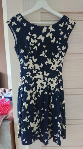Cocktailkleid Closet dunkelblau Schmetterlingprint