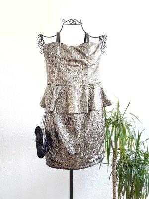 Bershka Sukienka z baskinką brąz-złoto