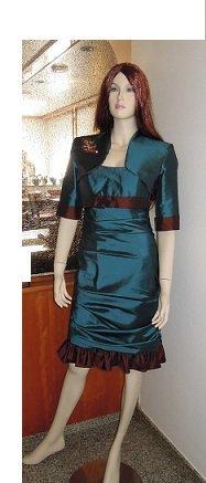 Cocktailkleid Kleid Abendkleid Kostüm Abiball Hochzeit Brautkleid Magic Nights petrol grün braun mit passendem Bolero Volants Rüschen Größe 36 NEU ungetragen