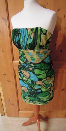 Cocktailkleid Kleid Abiball Ball Abendkleid bunt tiefer Rückenausschnitt trägerlos oder mit Trägern tragbar Größe 34 Avantgarde Detlef Mandel