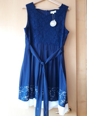 Apricot Cocktail Dress blue-white polyester