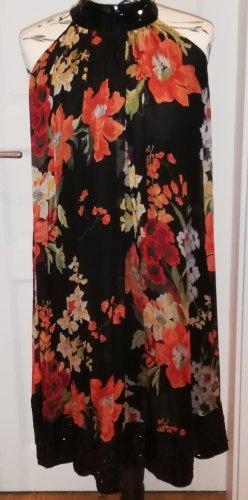 Zara Woman Vestido de cuello Halter multicolor Seda