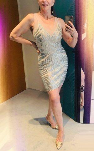 lipsy london Vestido de lentejuelas beige claro-color plata Poliéster