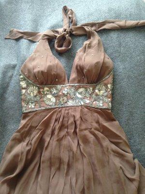 Cocktailkleid Seide Kleid Pailetten braun Gr 36