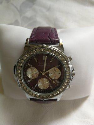 Coco Milano Horloge met lederen riempje zilver-grijs-paars