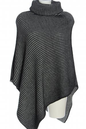 Cocogio Poncho black-light grey striped pattern casual look