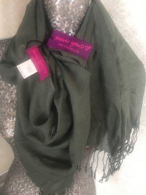 Codello Bufanda de flecos verde oscuro