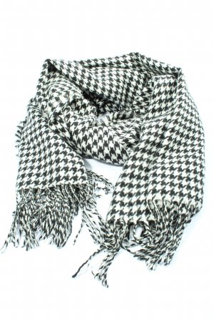 Codello Écharpe à franges noir-blanc motif à carreaux style décontracté