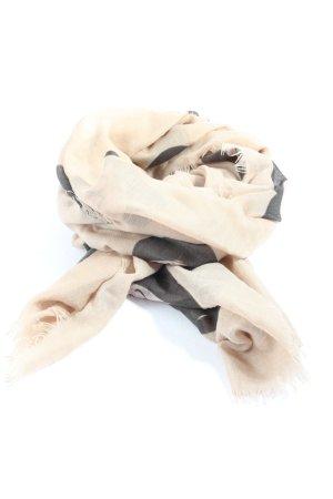 Codello Bufanda de flecos blanco puro-marrón letras impresas look casual
