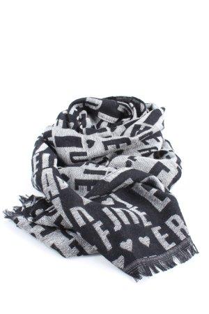 Codello Sciarpa con frange nero-bianco stampa integrale stile casual