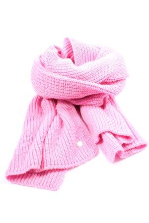 Codello Szydełkowany szalik różowy Warkoczowy wzór W stylu casual