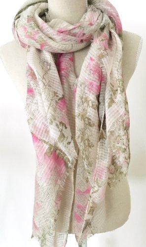 * Codello * Schal Tuch beige rosa grün Pailetten Aquarell floral