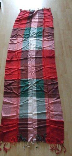Codello Sjaal met franjes rood-donkergroen