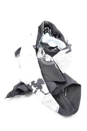Codello Jedwabna chusta czarny-biały Nadruk z motywem W stylu casual
