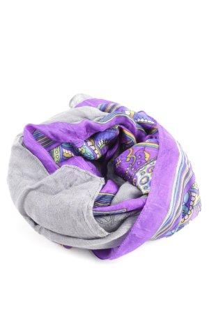 Codello Jedwabna chusta jasnoszary-fiolet Abstrakcyjny wzór W stylu casual
