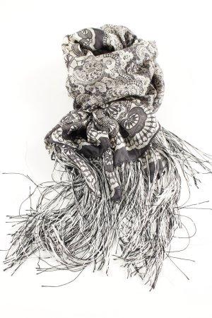 Codello Foulard en soie blanc cassé-noir motif abstrait style décontracté