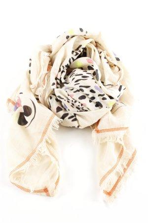 Codello Chal veraniego blanco puro-marrón estampado con diseño abstracto