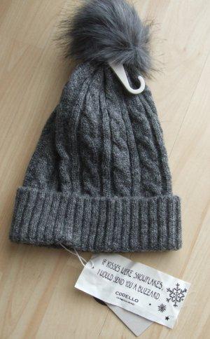 Codello Chapeau en tricot gris foncé