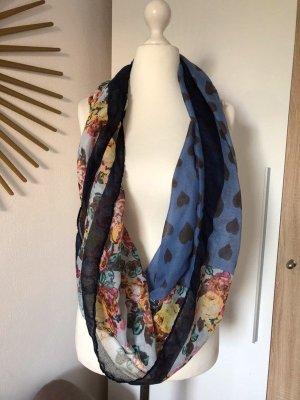 Codello Tuch Schal, zwei Muster, blau Herzen Blumen Schlauchschal Snood