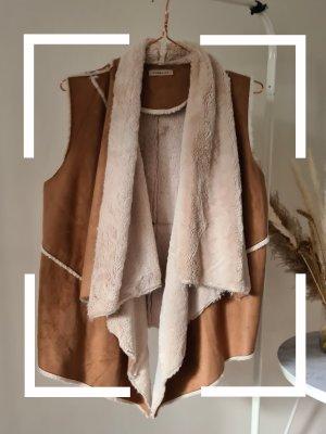 Codello Fake Fur Vest natural white-camel