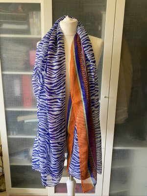 Codello Shoulder Scarf steel blue-orange cotton