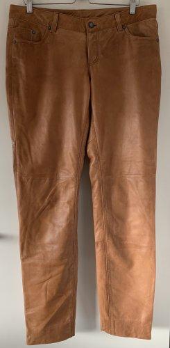 Pantalón de cuero coñac-marrón claro Cuero