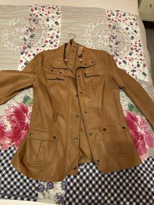 Faux Leather Jacket cognac-coloured