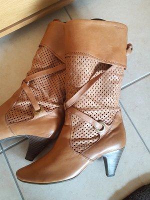Tamaris Heel Boots cognac-coloured leather