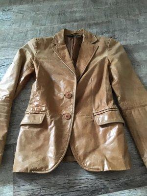 Zara Basic Leather Blazer brown leather