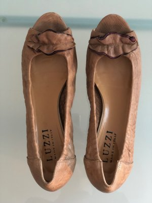 Peep Toe Ballerinas cognac-coloured leather