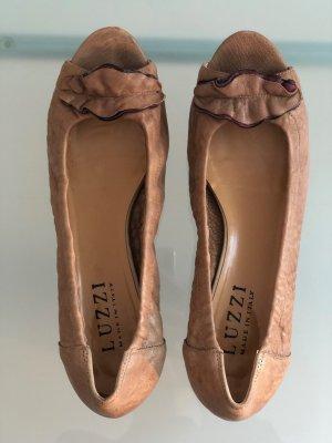 Cognacfarbener Peeptoe Ballerina von Luzzi (Made in Italy) in Gr. 40