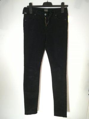 COH schwarze Jeans im Feincord Look | Vintage Skinny 80er | W 28 , 36-38