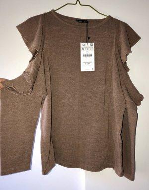 Cold-Shoulder Pullover mit Rüschen von Zara! Neu mit Etikett!