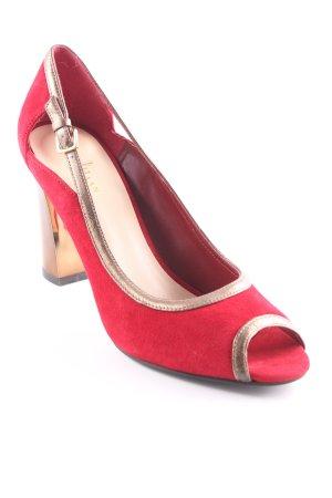 Cole Haan Peep Toe Pumps dark red-gold-colored elegant