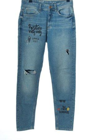 Colins Jeansy typu boyfriend niebieski-czarny Nadruk z motywem W stylu casual