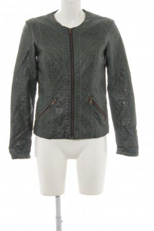 Colins Faux Leather Jacket forest green quilting pattern classic style