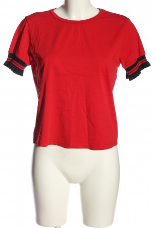 Colins Short Sleeved Blouse red-black striped pattern casual look