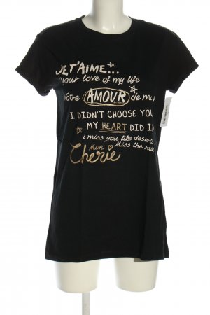Colins T-Shirt black-cream printed lettering casual look