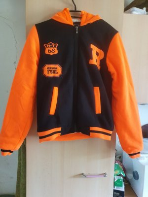 College Jacket black-neon orange