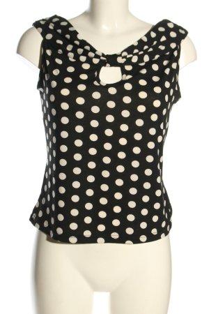 Collectif Top basic nero-bianco motivo a pallini stile casual