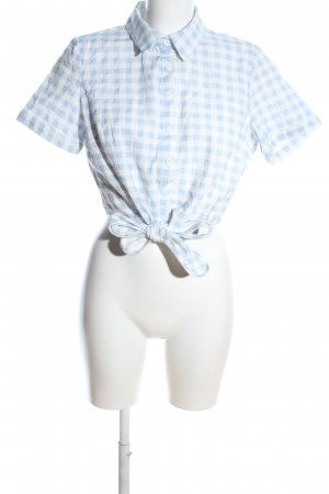 Collectif Cropped Top blue-white check pattern casual look