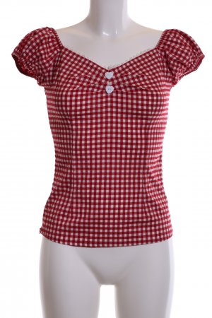 Collectif Kurzarm-Bluse rot-weiß Karomuster Casual-Look