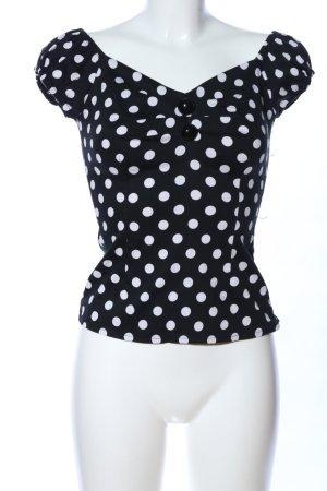 Collectif T-Shirt schwarz-weiß Punktemuster klassischer Stil