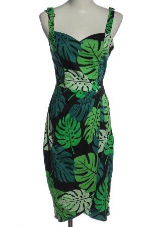 Collectif Sommerkleid schwarz-grün Motivdruck Casual-Look