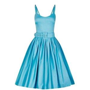 Collectif Vintage Jade Plain Swing Kleid (Blau)